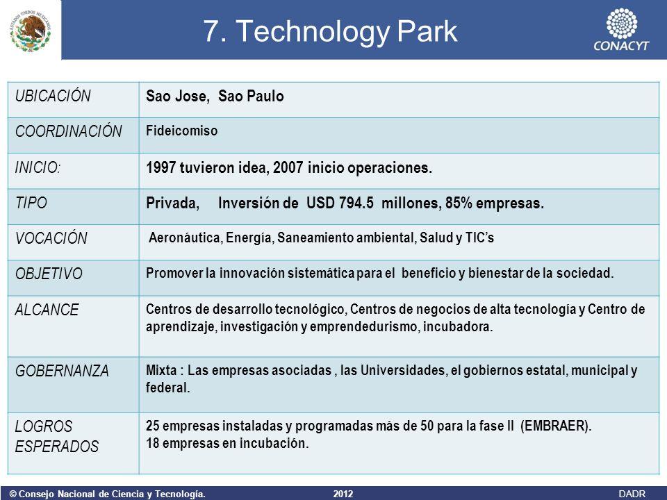 © Consejo Nacional de Ciencia y Tecnología. 2012 DADR 7. Technology Park UBICACIÓN Sao Jose, Sao Paulo COORDINACIÓN Fideicomiso INICIO: 1997 tuvieron