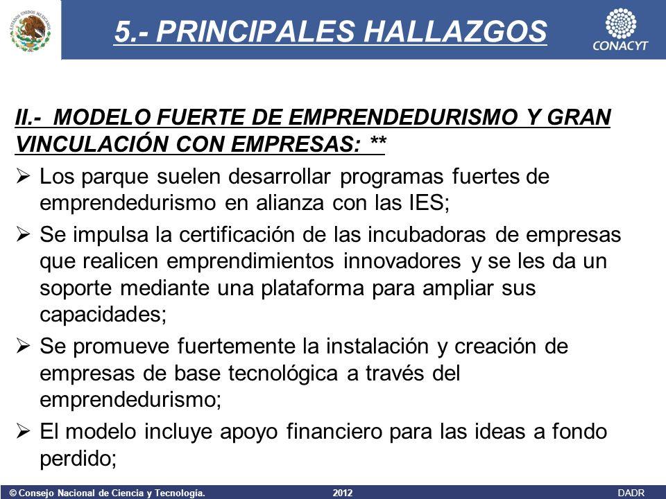 © Consejo Nacional de Ciencia y Tecnología. 2012 DADR 5.- PRINCIPALES HALLAZGOS II.- MODELO FUERTE DE EMPRENDEDURISMO Y GRAN VINCULACIÓN CON EMPRESAS: