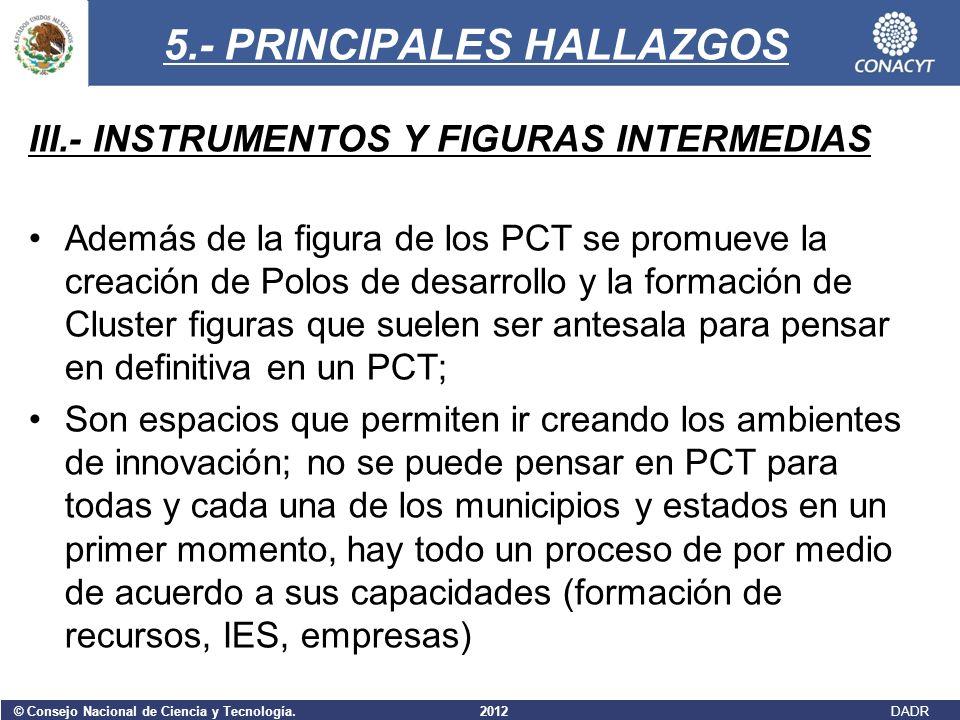 © Consejo Nacional de Ciencia y Tecnología. 2012 DADR 5.- PRINCIPALES HALLAZGOS III.- INSTRUMENTOS Y FIGURAS INTERMEDIAS Además de la figura de los PC
