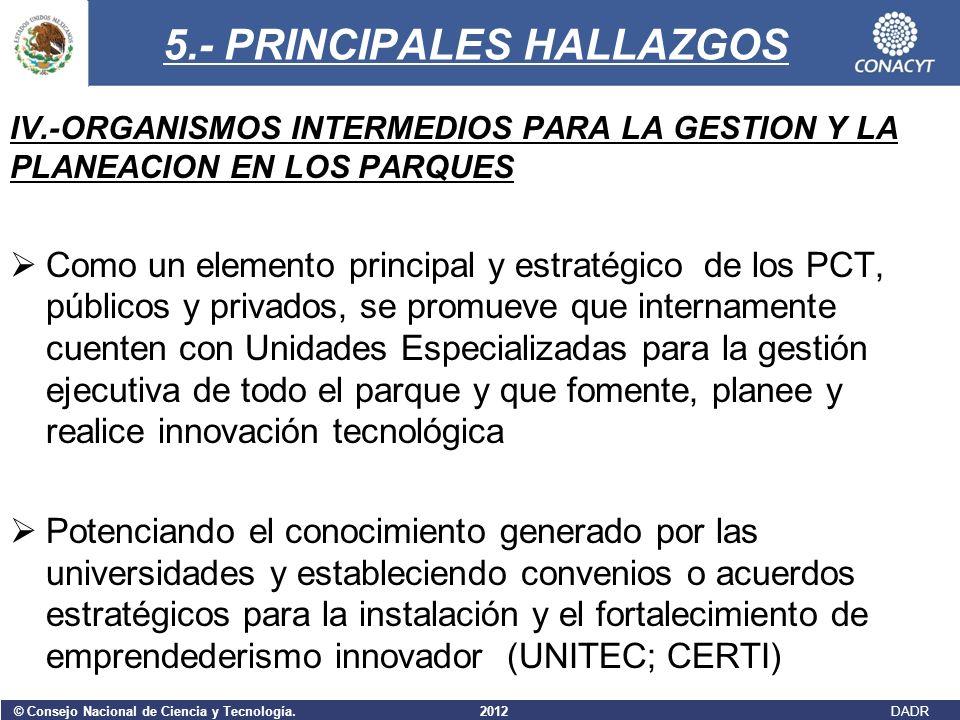 © Consejo Nacional de Ciencia y Tecnología. 2012 DADR 5.- PRINCIPALES HALLAZGOS IV.-ORGANISMOS INTERMEDIOS PARA LA GESTION Y LA PLANEACION EN LOS PARQ