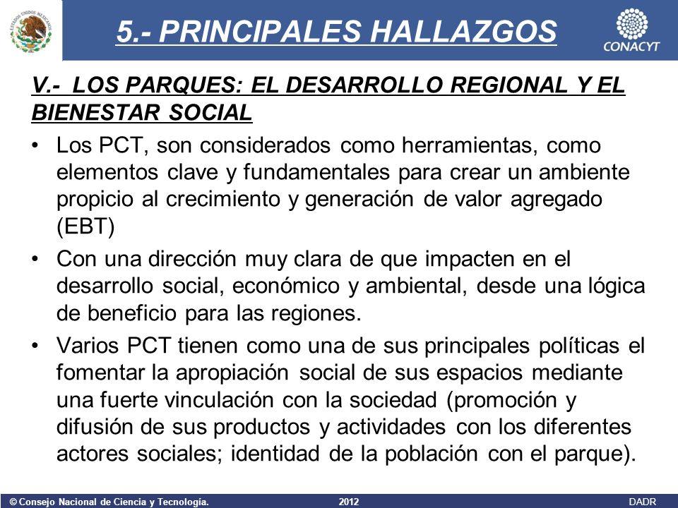 © Consejo Nacional de Ciencia y Tecnología. 2012 DADR 5.- PRINCIPALES HALLAZGOS V.- LOS PARQUES: EL DESARROLLO REGIONAL Y EL BIENESTAR SOCIAL Los PCT,