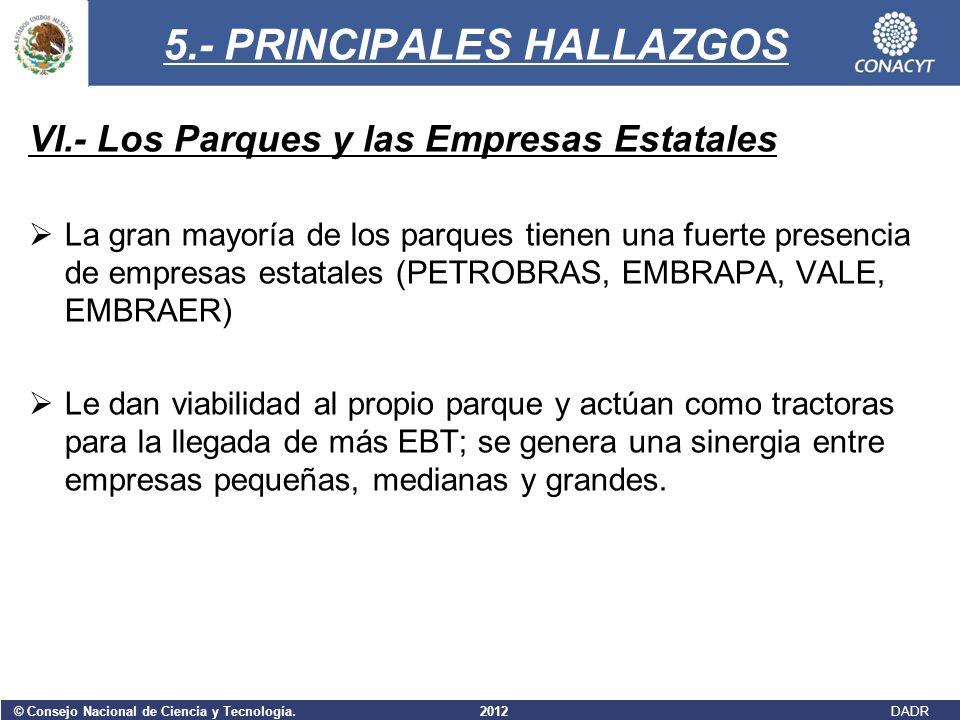 © Consejo Nacional de Ciencia y Tecnología. 2012 DADR 5.- PRINCIPALES HALLAZGOS VI.- Los Parques y las Empresas Estatales La gran mayoría de los parqu