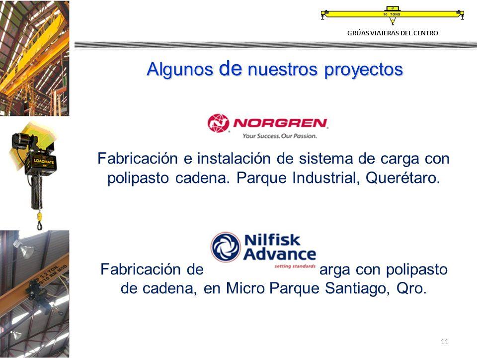 11 Fabricación e instalación de sistema de carga con polipasto cadena. Parque Industrial, Querétaro. Fabricación de 2 sistemas de carga con polipasto