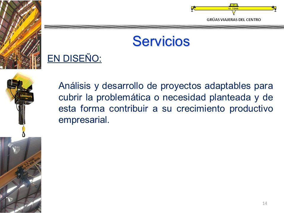 14 Servicios EN DISEÑO: Análisis y desarrollo de proyectos adaptables para cubrir la problemática o necesidad planteada y de esta forma contribuir a s