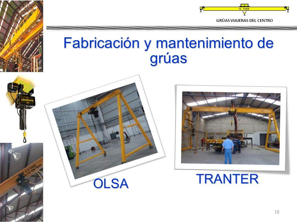 18 Fabricación y mantenimiento de grúas TRANTER OLSA GRÚAS VIAJERAS DEL CENTRO