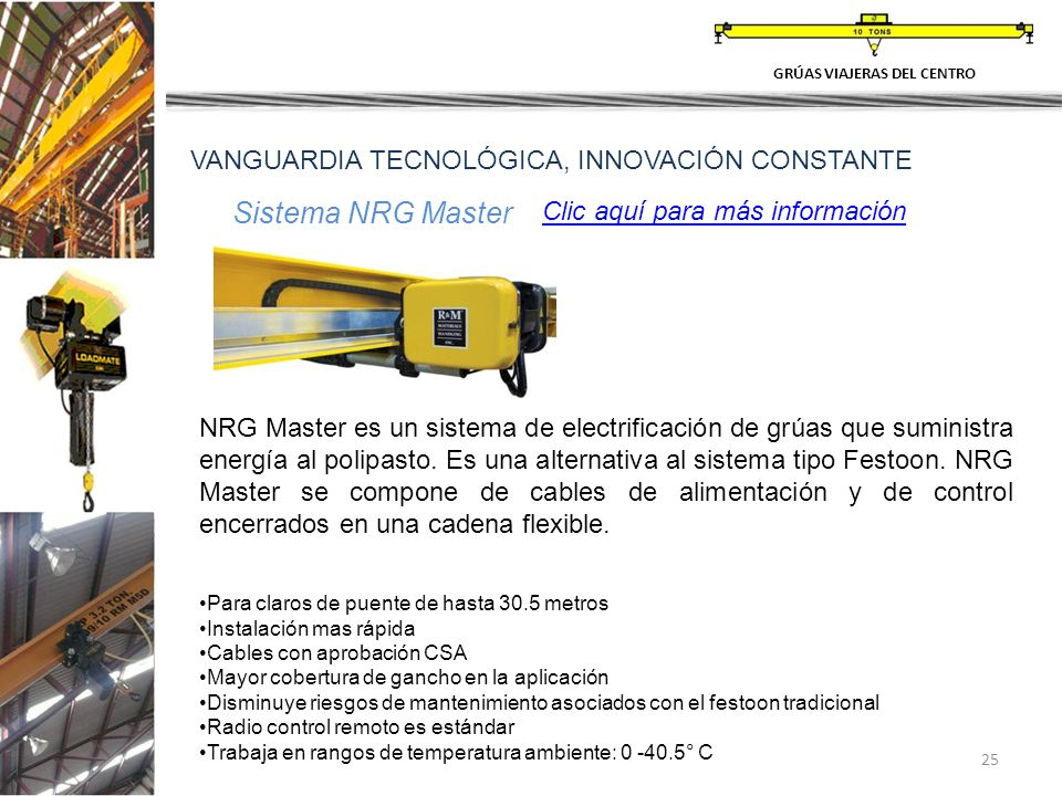 25 GRÚAS VIAJERAS DEL CENTRO VANGUARDIA TECNOLÓGICA, INNOVACIÓN CONSTANTE Sistema NRG Master – NRG Master es un sistema de electrificación de grúas qu