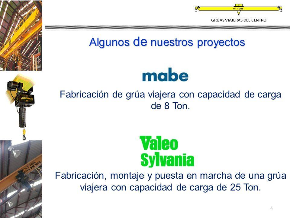 4 Algunos de nuestros proyectos Fabricación de grúa viajera con capacidad de carga de 8 Ton. Fabricación, montaje y puesta en marcha de una grúa viaje