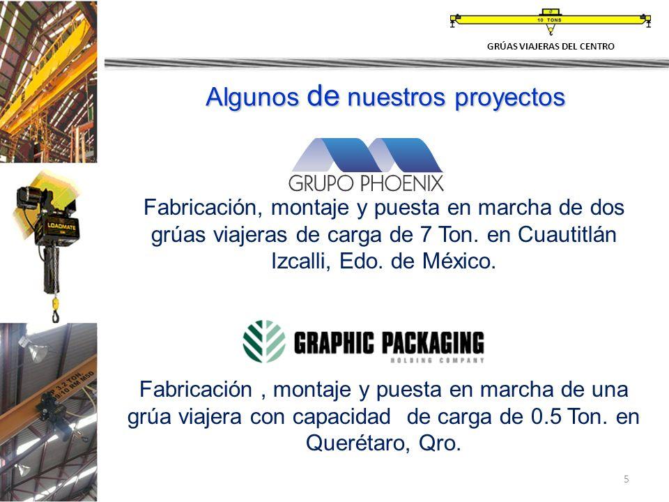 5 Fabricación, montaje y puesta en marcha de dos grúas viajeras de carga de 7 Ton. en Cuautitlán Izcalli, Edo. de México. Fabricación, montaje y puest