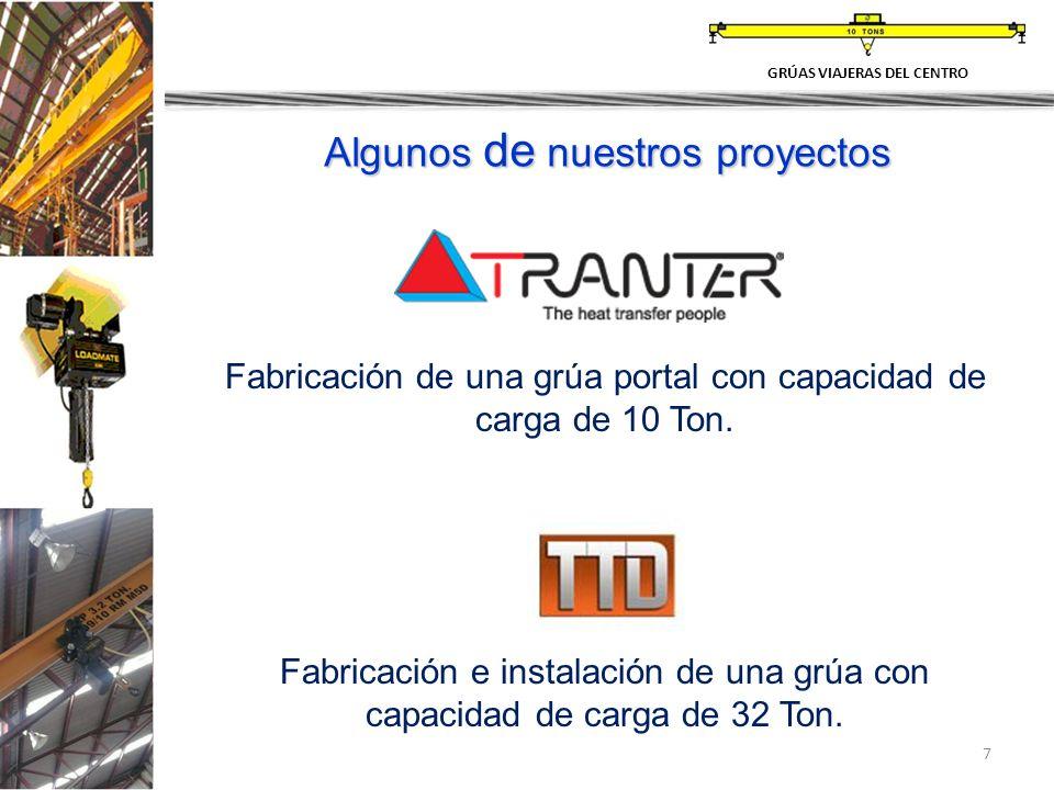 7 Fabricación de una grúa portal con capacidad de carga de 10 Ton. Fabricación e instalación de una grúa con capacidad de carga de 32 Ton. GRÚAS VIAJE