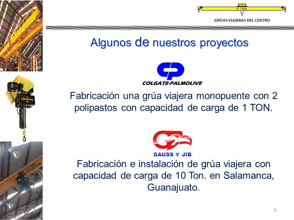 9 GRÚAS VIAJERAS DEL CENTRO Fabricación una grúa viajera monopuente con 2 polipastos con capacidad de carga de 1 TON. Fabricación e instalación de grú
