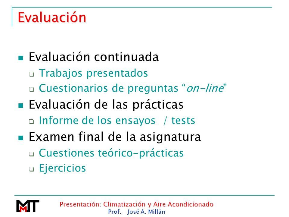 Presentación: Climatización y Aire Acondicionado Prof. José A. Millán Evaluación Evaluación continuada Trabajos presentados Cuestionarios de preguntas