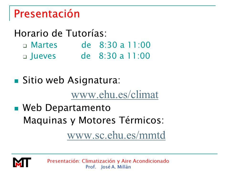 Presentación: Climatización y Aire Acondicionado Prof. José A. Millán Presentación Horario de Tutorías: Martes de 8:30 a 11:00 Jueves de 8:30 a 11:00
