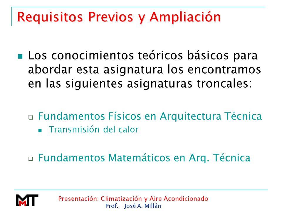Presentación: Climatización y Aire Acondicionado Prof. José A. Millán Requisitos Previos y Ampliación Los conocimientos teóricos básicos para abordar