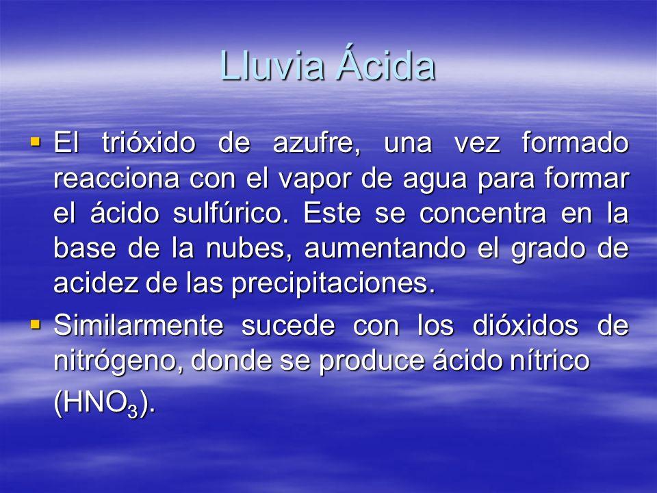 Lluvia Ácida El trióxido de azufre, una vez formado reacciona con el vapor de agua para formar el ácido sulfúrico. Este se concentra en la base de la