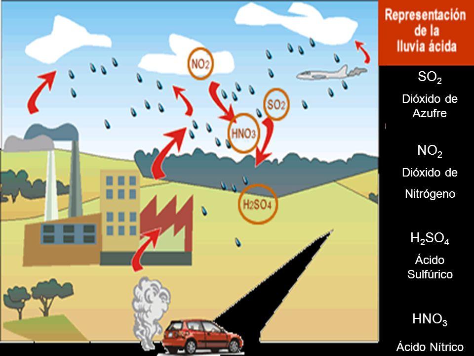 SO 2 Dióxido de Azufre NO 2 Dióxido de Nitrógeno H 2 SO 4 Ácido Sulfúrico HNO 3 Ácido Nítrico