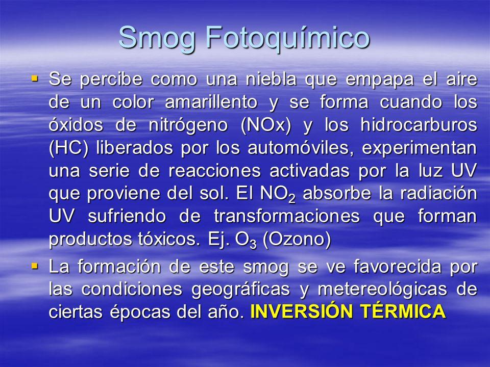 Smog Fotoquímico Se percibe como una niebla que empapa el aire de un color amarillento y se forma cuando los óxidos de nitrógeno (NOx) y los hidrocarb