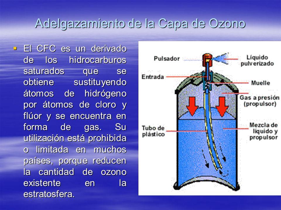 Adelgazamiento de la Capa de Ozono El CFC es un derivado de los hidrocarburos saturados que se obtiene sustituyendo átomos de hidrógeno por átomos de