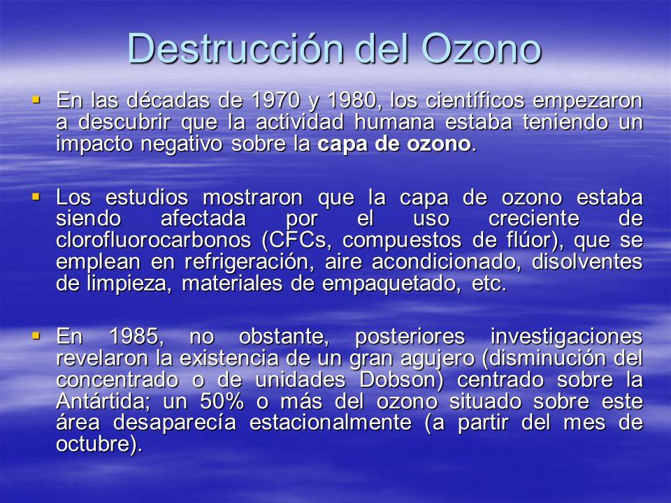 Destrucción del Ozono En las décadas de 1970 y 1980, los científicos empezaron a descubrir que la actividad humana estaba teniendo un impacto negativo