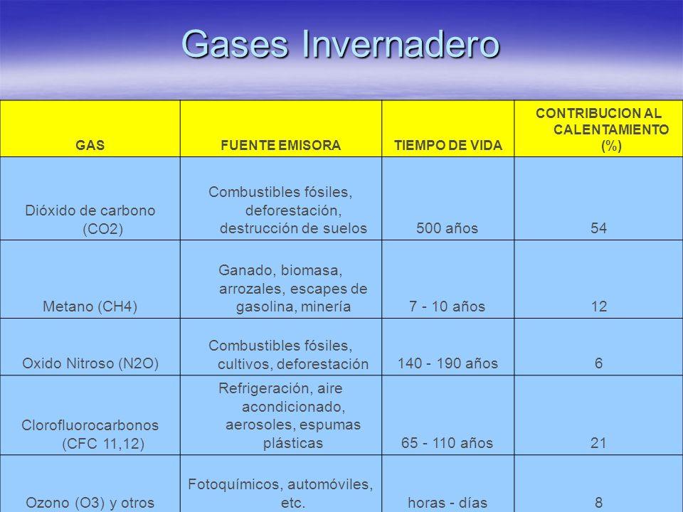 Gases Invernadero GASFUENTE EMISORATIEMPO DE VIDA CONTRIBUCION AL CALENTAMIENTO (%) Dióxido de carbono (CO2) Combustibles fósiles, deforestación, dest