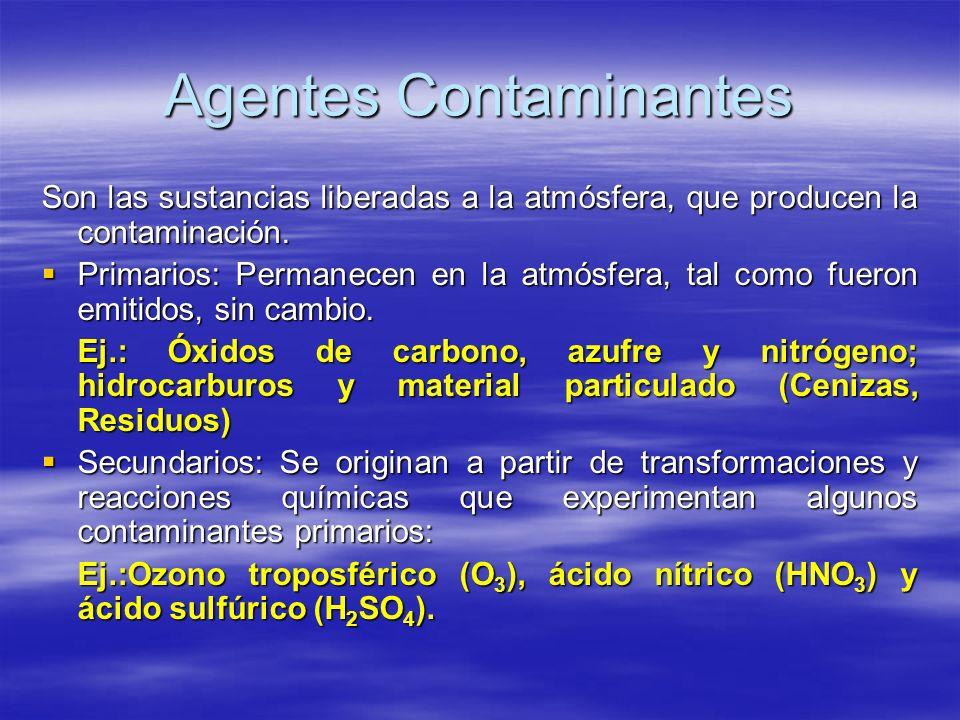 Agentes Contaminantes Son las sustancias liberadas a la atmósfera, que producen la contaminación. Primarios: Permanecen en la atmósfera, tal como fuer