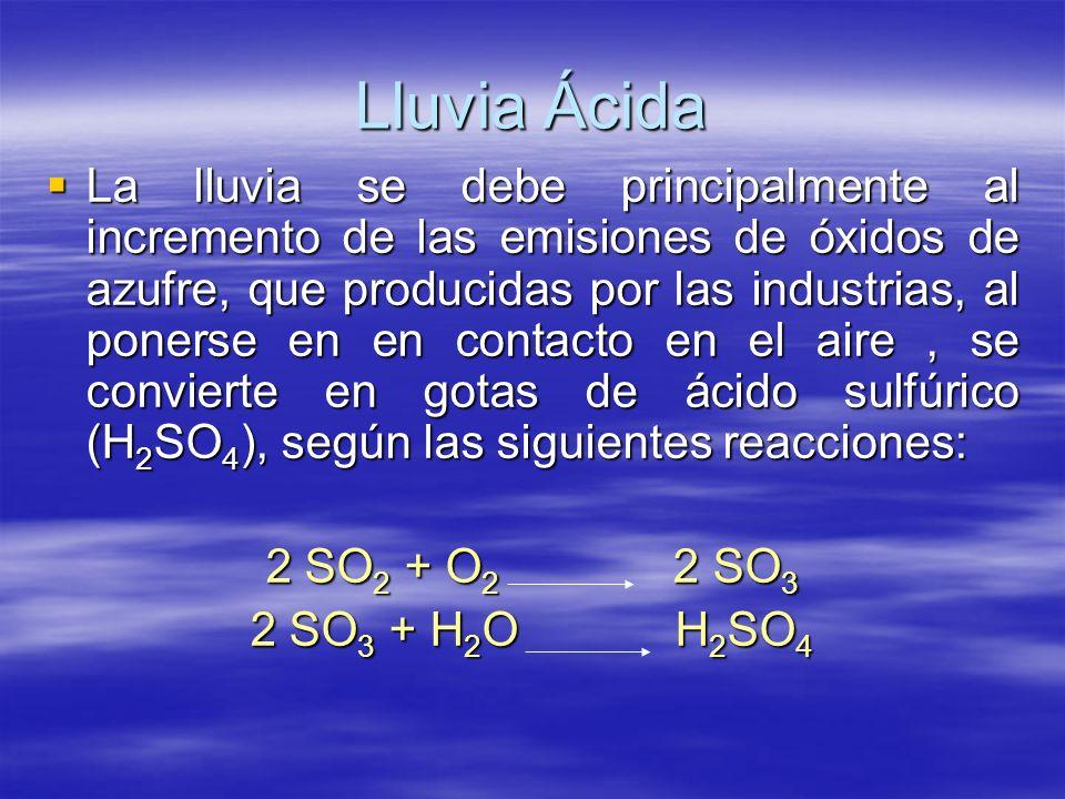 Lluvia Ácida La lluvia se debe principalmente al incremento de las emisiones de óxidos de azufre, que producidas por las industrias, al ponerse en en
