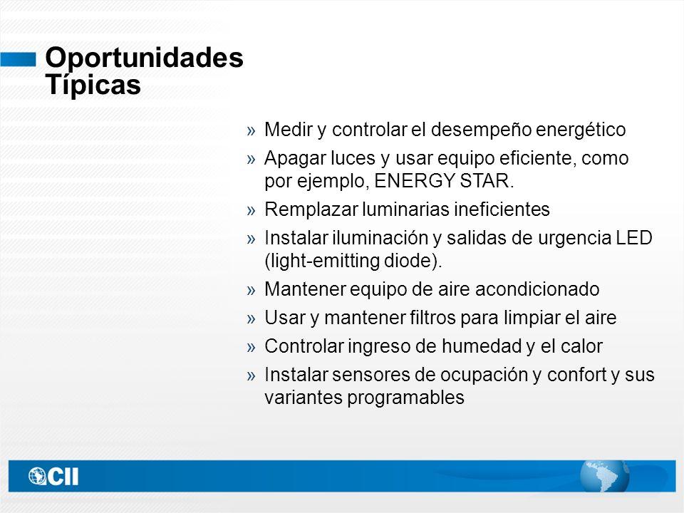 Medir y controlar el desempeño energético Apagar luces y usar equipo eficiente, como por ejemplo, ENERGY STAR.