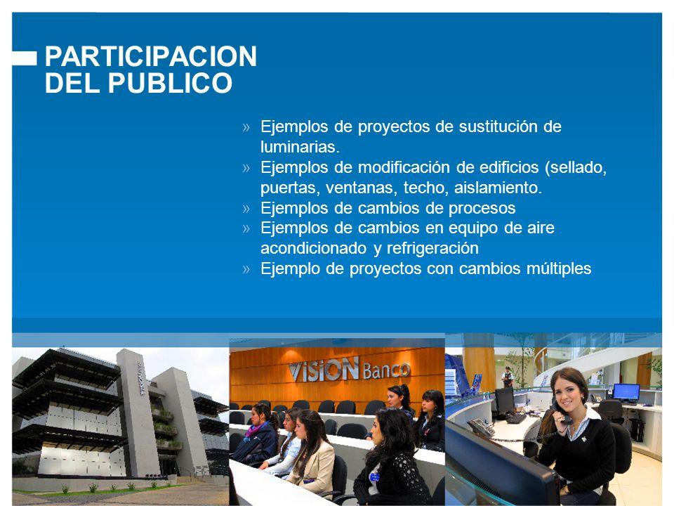 PARTICIPACION DEL PUBLICO Ejemplos de proyectos de sustitución de luminarias.