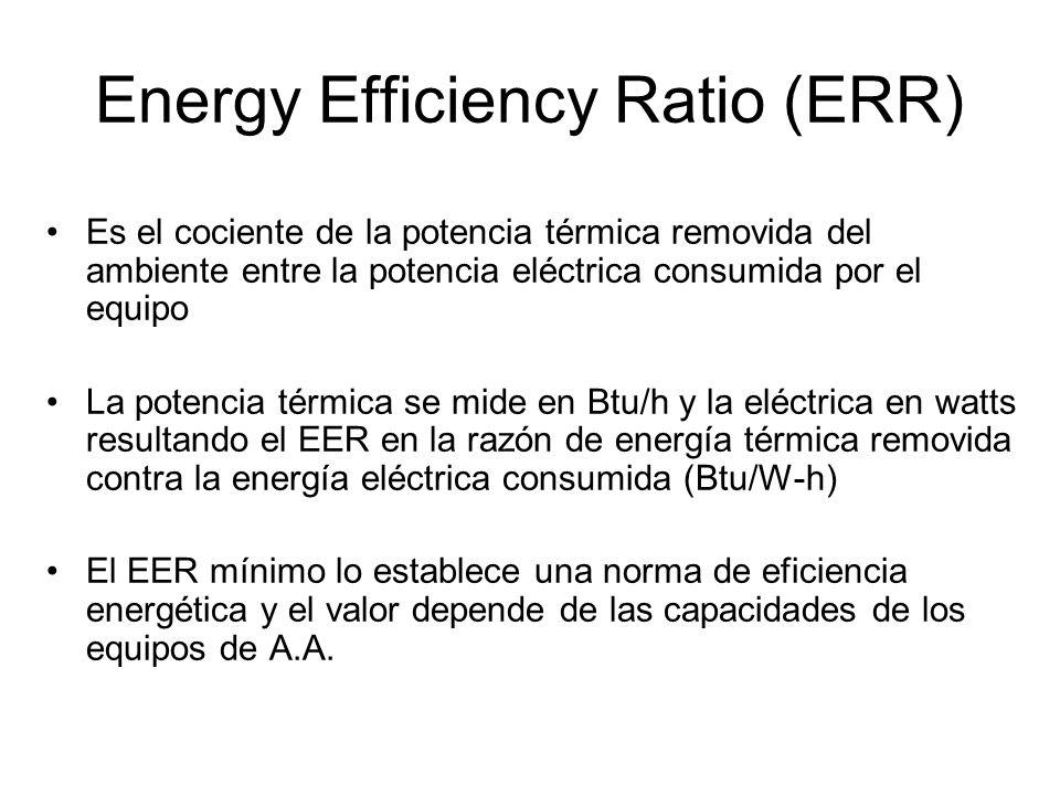 Energy Efficiency Ratio (ERR) Es el cociente de la potencia térmica removida del ambiente entre la potencia eléctrica consumida por el equipo La poten