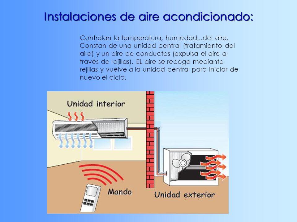 Instalaciones de aire acondicionado: Controlan la temperatura, humedad...del aire. Constan de una unidad central (tratamiento del aire) y un aire de c