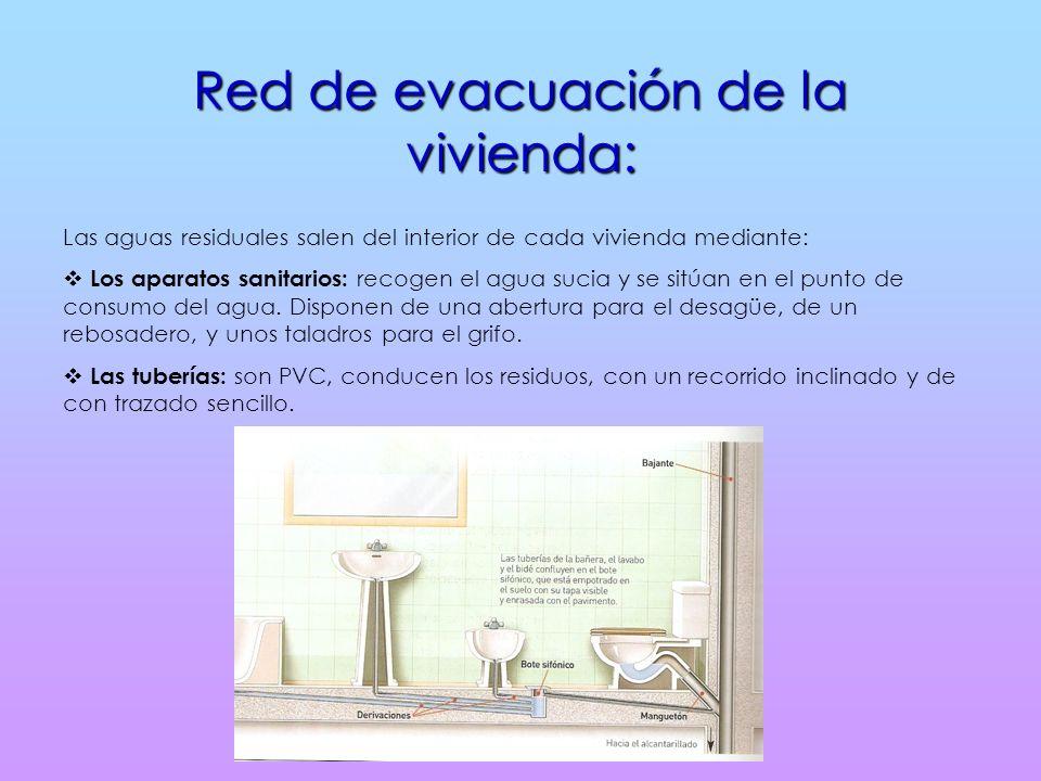 Red de evacuación de la vivienda: Las aguas residuales salen del interior de cada vivienda mediante: Los aparatos sanitarios: recogen el agua sucia y se sitúan en el punto de consumo del agua.