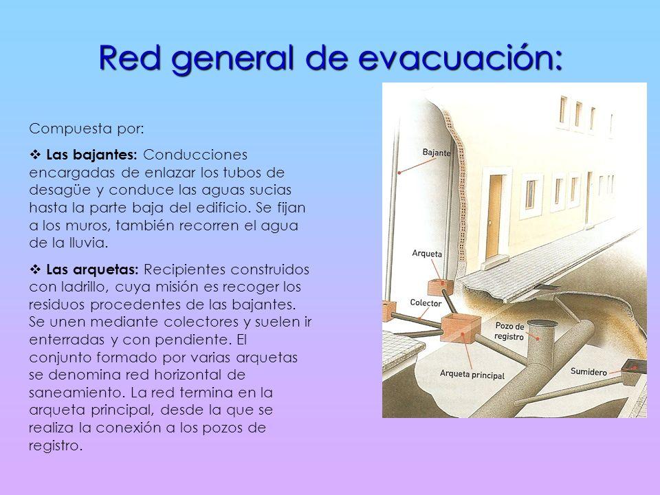 Red general de evacuación: Compuesta por: Las bajantes: Conducciones encargadas de enlazar los tubos de desagüe y conduce las aguas sucias hasta la parte baja del edificio.