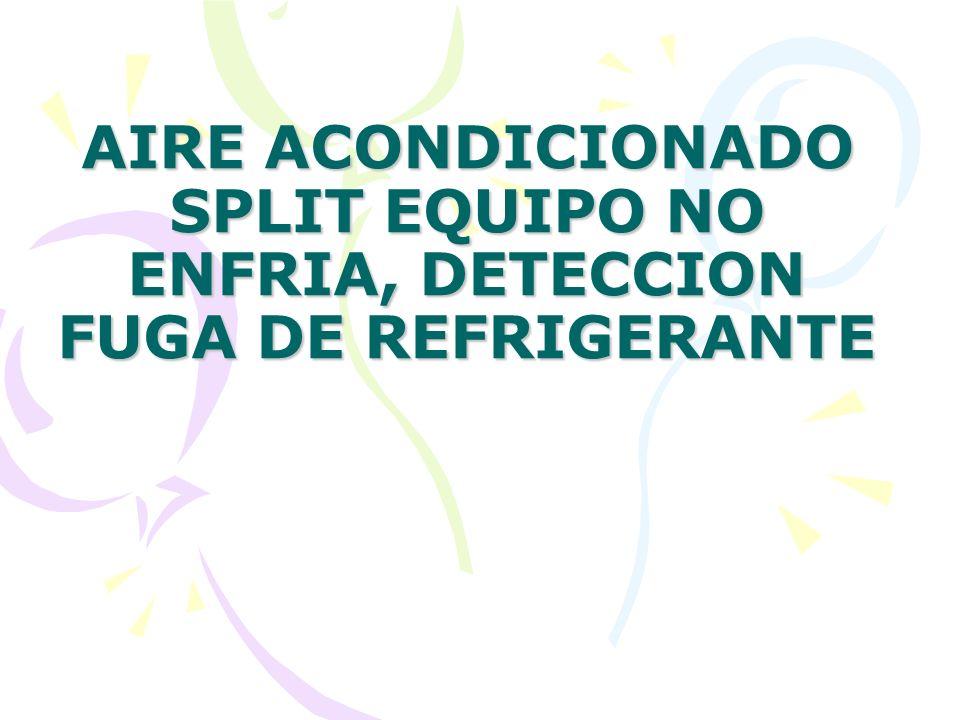 AIRE ACONDICIONADO SPLIT EQUIPO NO ENFRIA, DETECCION FUGA DE REFRIGERANTE
