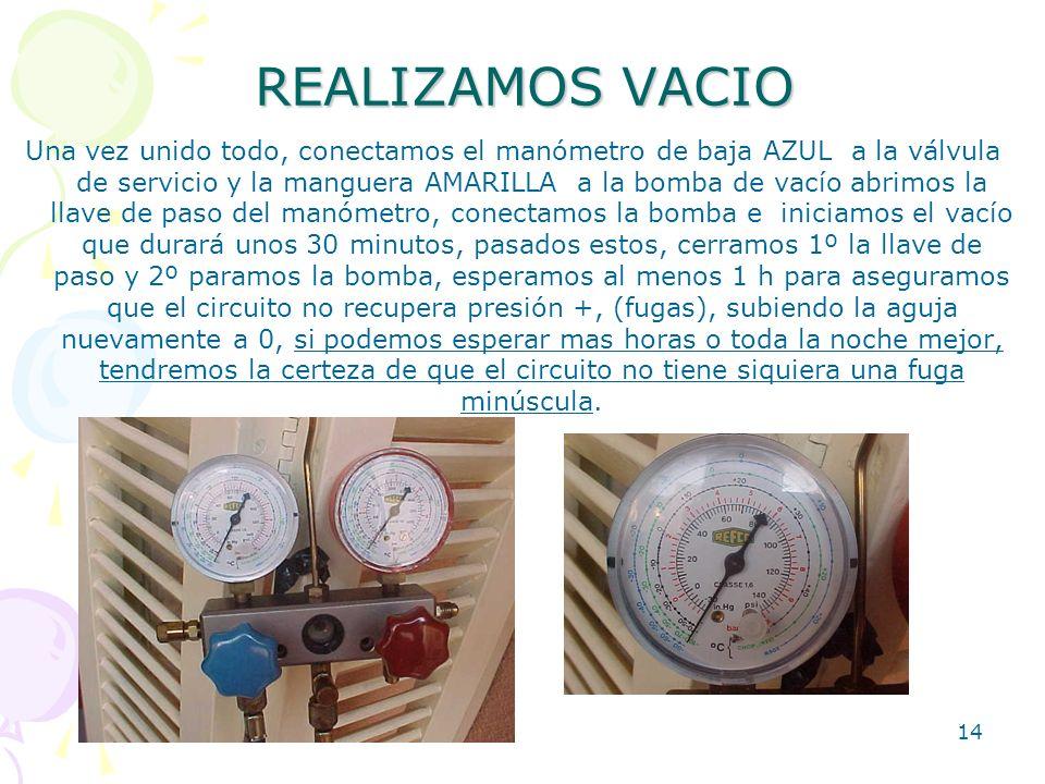 14 REALIZAMOS VACIO Una vez unido todo, conectamos el manómetro de baja AZUL a la válvula de servicio y la manguera AMARILLA a la bomba de vacío abrim