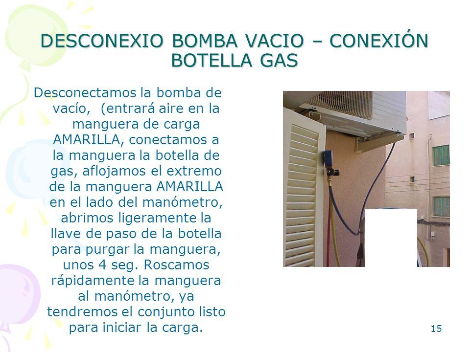 15 DESCONEXIO BOMBA VACIO – CONEXIÓN BOTELLA GAS Desconectamos la bomba de vacío, (entrará aire en la manguera de carga AMARILLA, conectamos a la mang