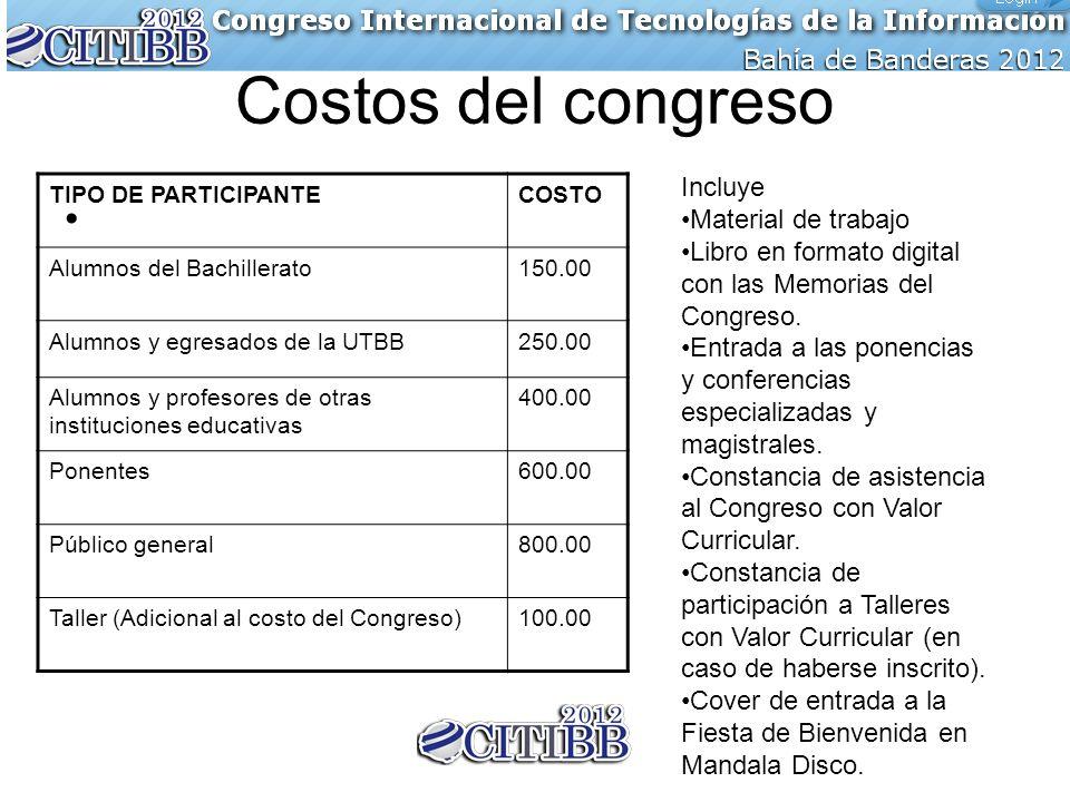 Costos del congreso TIPO DE PARTICIPANTECOSTO Alumnos del Bachillerato150.00 Alumnos y egresados de la UTBB250.00 Alumnos y profesores de otras instit