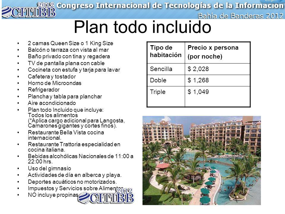 Plan todo incluido 2 camas Queen Size o 1 King Size Balcón o terraza con vista al mar Baño privado con tina y regadera TV de pantalla plana con cable