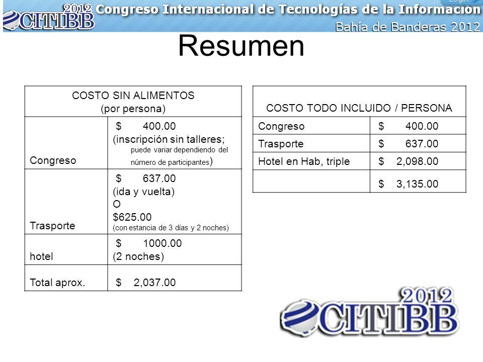 Resumen COSTO SIN ALIMENTOS (por persona) Congreso $ 400.00 (inscripción sin talleres; puede variar dependiendo del número de participantes ) Trasport