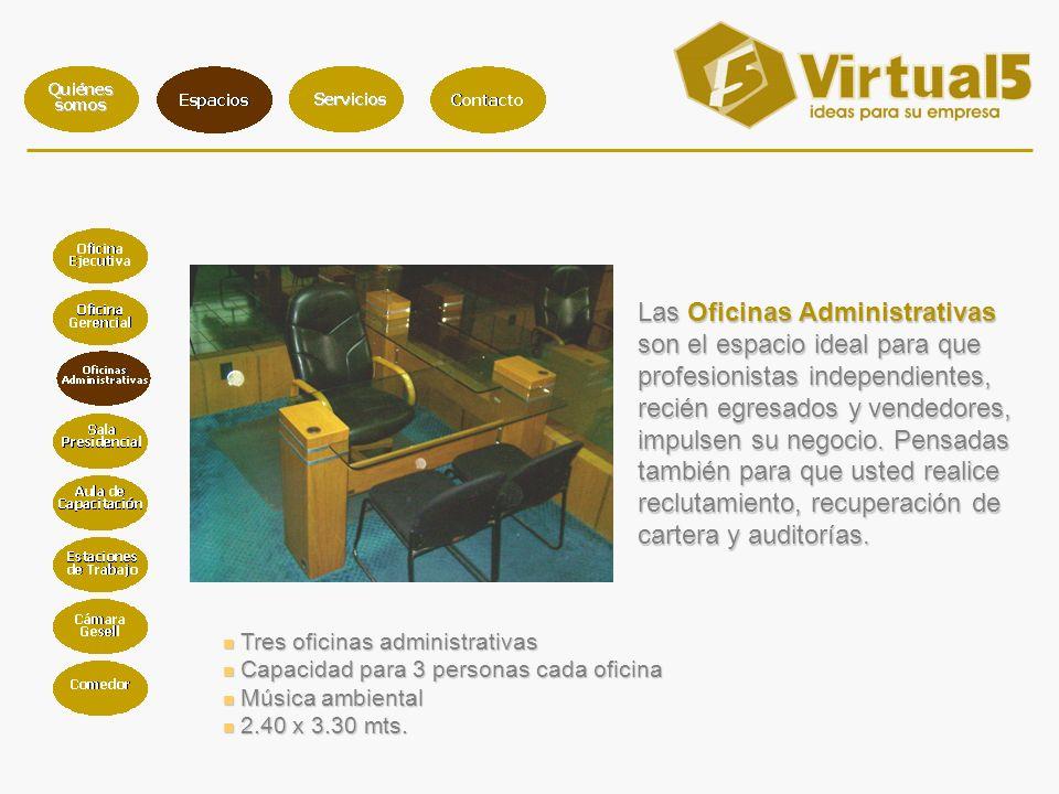 Tres oficinas administrativas Tres oficinas administrativas Capacidad para 3 personas cada oficina Capacidad para 3 personas cada oficina Música ambiental Música ambiental 2.40 x 3.30 mts.