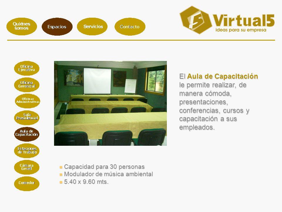 Capacidad para 30 personas Capacidad para 30 personas Modulador de música ambiental Modulador de música ambiental 5.40 x 9.60 mts.