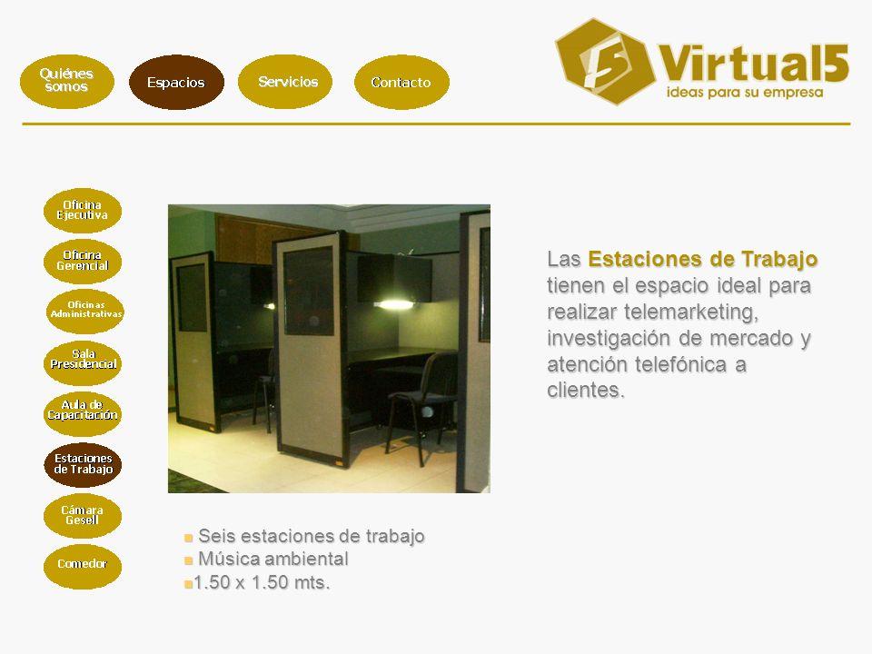 Seis estaciones de trabajo Seis estaciones de trabajo Música ambiental Música ambiental 1.50 x 1.50 mts.