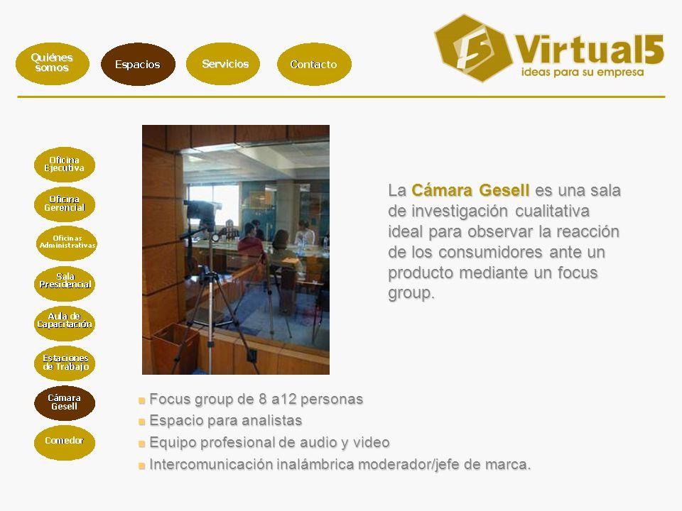 La Cámara Gesell es una sala de investigación cualitativa ideal para observar la reacción de los consumidores ante un producto mediante un focus group.