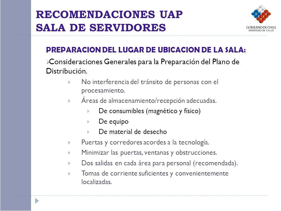PREPARACION DEL LUGAR DE UBICACION DE LA SALA: Consideraciones Generales para la Preparación del Plano de Distribución. No interferencia del tránsito