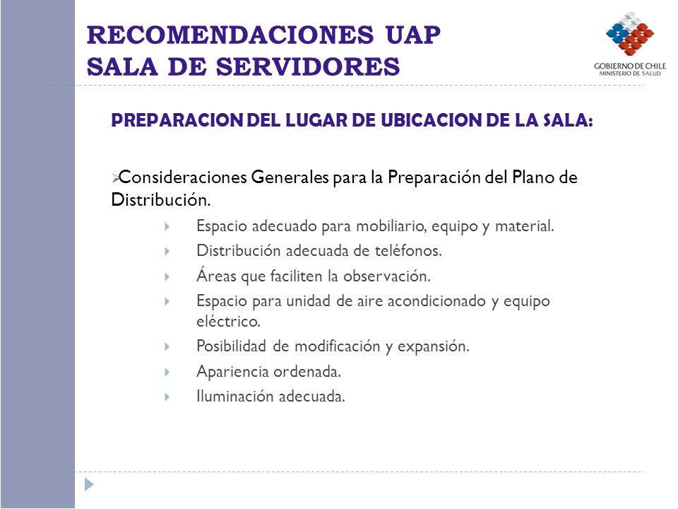 PREPARACION DEL LUGAR DE UBICACION DE LA SALA: Consideraciones Generales para la Preparación del Plano de Distribución. Espacio adecuado para mobiliar