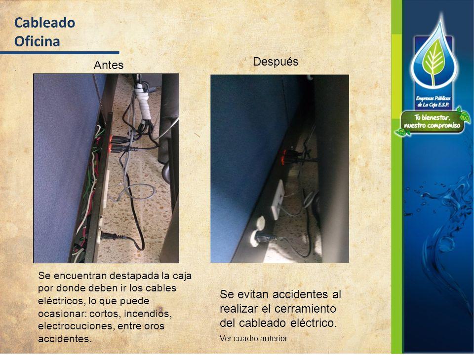 Cableado Oficina Antes Después Se encuentran destapada la caja por donde deben ir los cables eléctricos, lo que puede ocasionar: cortos, incendios, el
