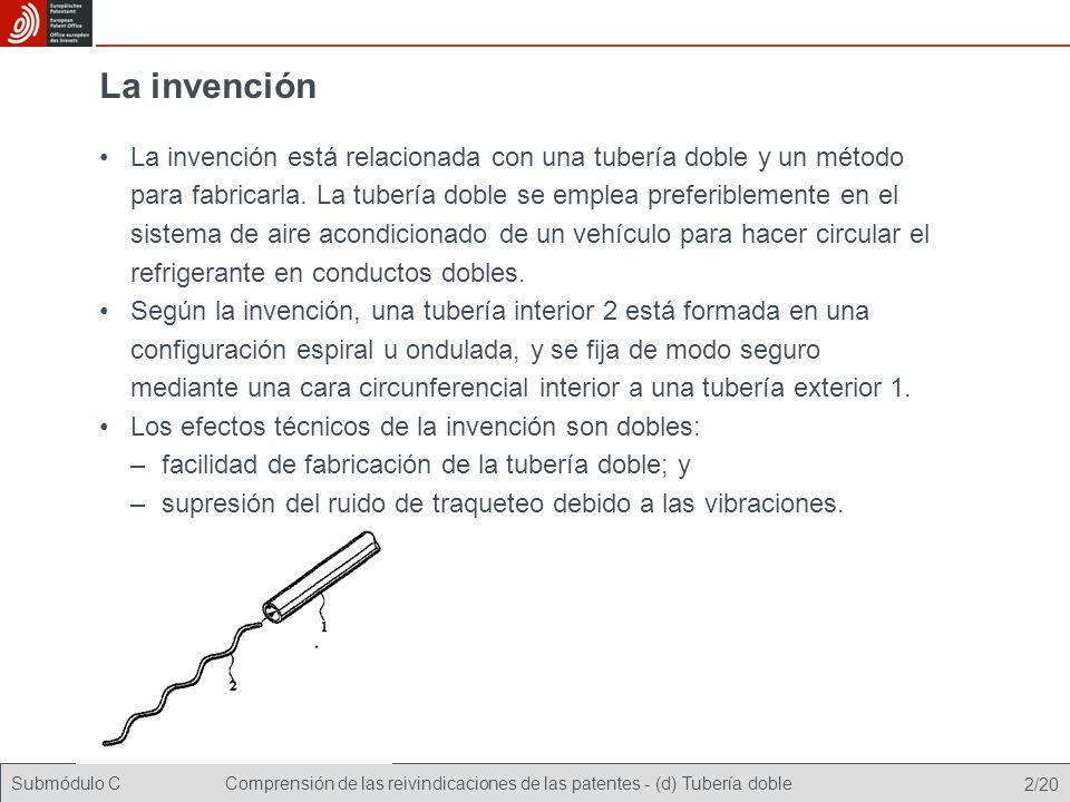 Submódulo CComprensión de las reivindicaciones de las patentes - (d) Tubería doble 2/20 La invención La invención está relacionada con una tubería doble y un método para fabricarla.