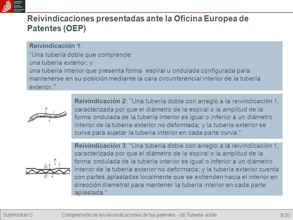 Submódulo CComprensión de las reivindicaciones de las patentes - (d) Tubería doble 20/20 Finalmente se concede la patente sobre la base de la reivindicación modificada