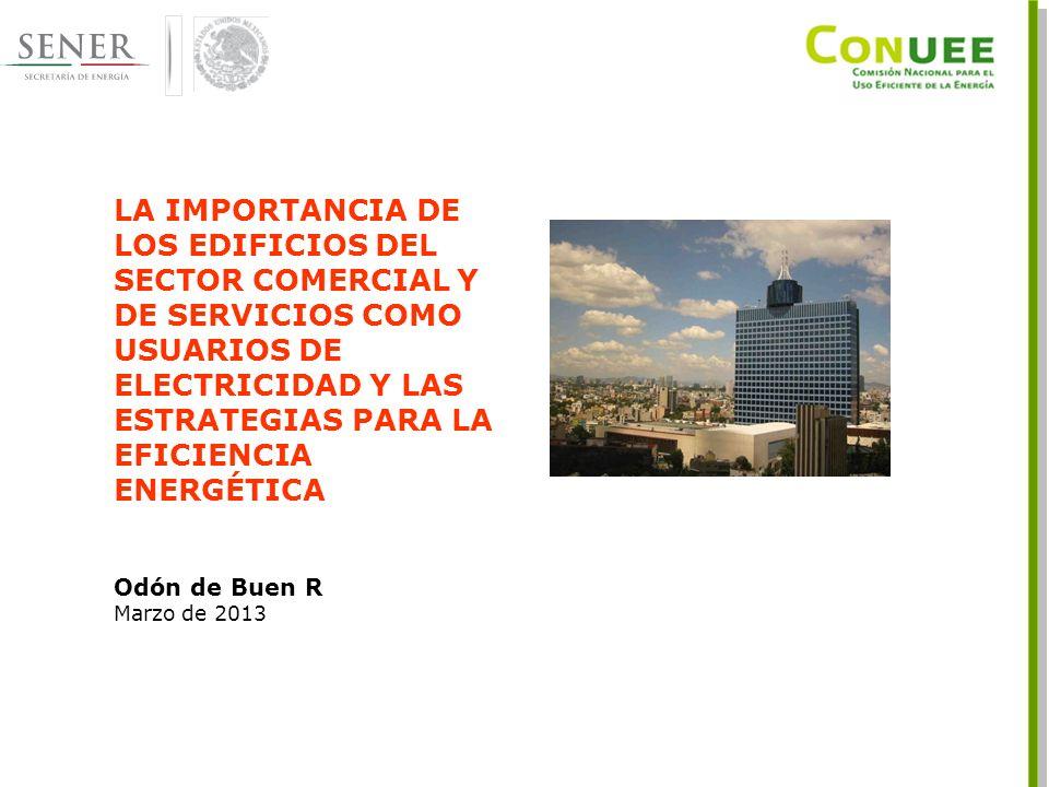 LA IMPORTANCIA DE LOS EDIFICIOS DEL SECTOR COMERCIAL Y DE SERVICIOS COMO USUARIOS DE ELECTRICIDAD Y LAS ESTRATEGIAS PARA LA EFICIENCIA ENERGÉTICA Odón de Buen R Marzo de 2013