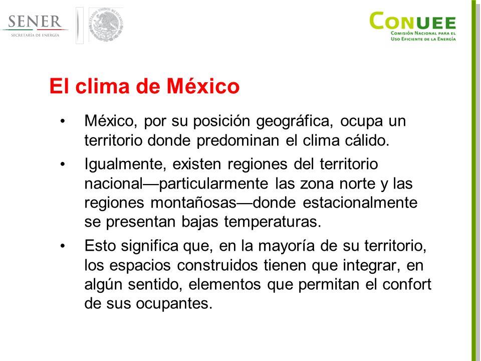El clima de México México, por su posición geográfica, ocupa un territorio donde predominan el clima cálido.