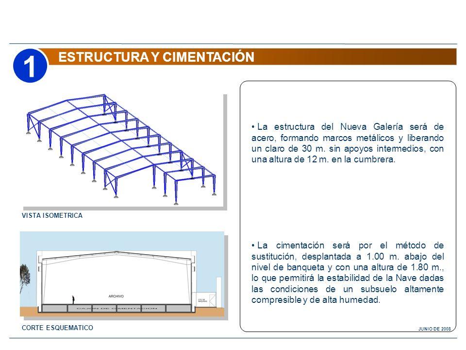 1 ESTRUCTURA Y CIMENTACIÓN CORTE ESQUEMATICO La estructura del Nueva Galería será de acero, formando marcos metálicos y liberando un claro de 30 m. si