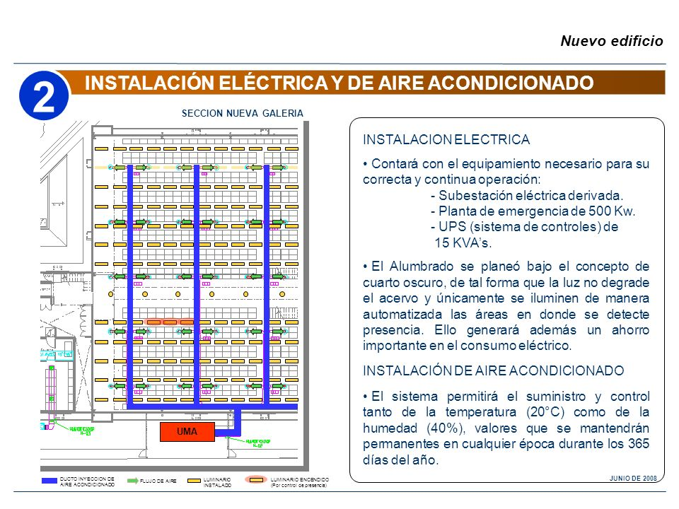 INSTALACIÓN ELÉCTRICA Y DE AIRE ACONDICIONADO Nuevo edificio INSTALACION ELECTRICA Contará con el equipamiento necesario para su correcta y continua o